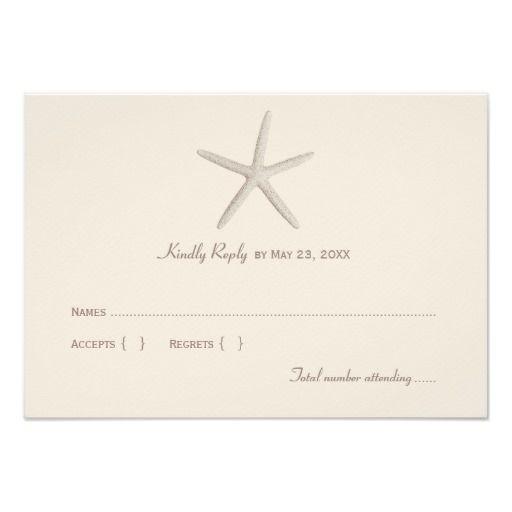 "Wedding Reply Card 1   Neutral Starfish 3.5"" X 5"" Invitation Card"