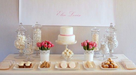 Une sweet table blanche pour un baptême