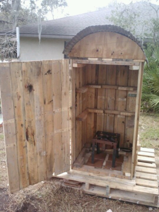 Open door fish smoker made from pallets. I need to find /make some grates.