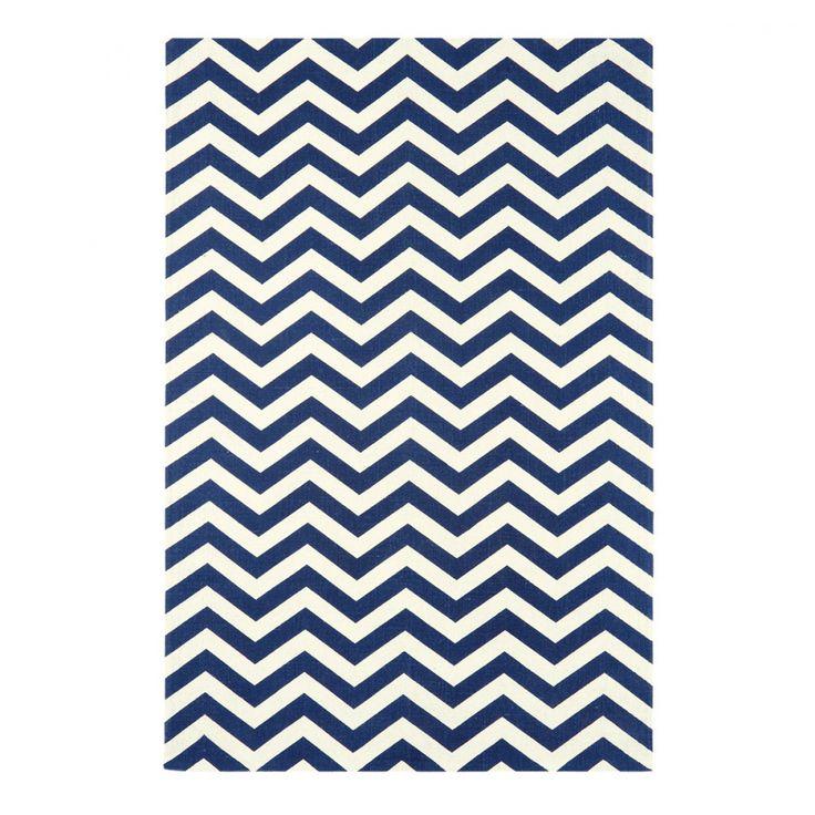 Tapis design bleu et blanc motifs zig zag
