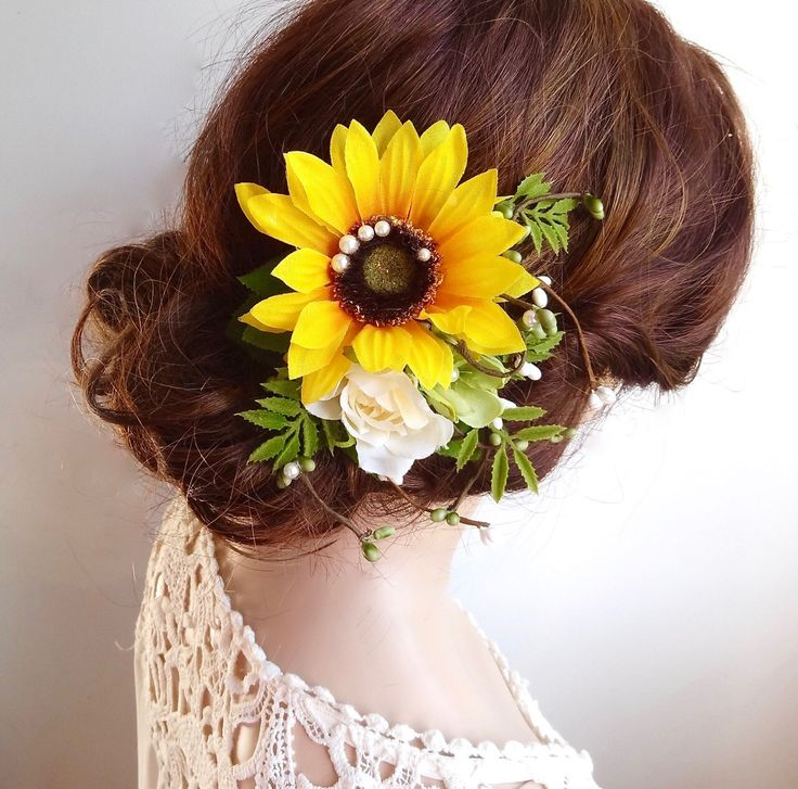 sunflower hair clip, sunflower hair comb, yellow flower hair clip, sunflower wedding, rustic wedding hair accessories, yellow headpiece by thehoneycomb on Etsy https://www.etsy.com/listing/467385128/sunflower-hair-clip-sunflower-hair-comb