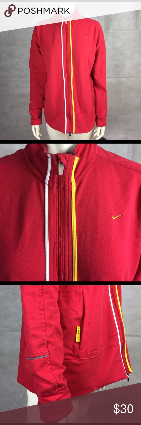 Women's Nike Fit Dry jacket XL (16-18) red/yellow This is an authentic women's  Nike jacket size XL (16-18). It is flawless, no rips, tears, or stains. Zipper works. It is a bright red with a yellow Nike check on the chest, as well as two yellow lines that go down the front on opposite sides of the zipper. It is made of 60% cotton, 34% polyester and 6% spandex. Originally 89$ this is a great deal. Nike Jackets & Coats