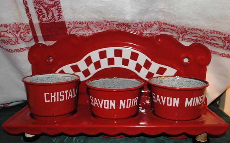 Antique German enameled LAUNDRY RACK Red LUSTUCRU Checks di villavillacolle su Etsy