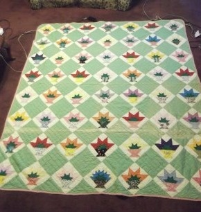 VINTAGE HANDPIECED AND QUILTED FLOWER BASKET KENTUCKY MADE QUILT ~ CUTTER ? | eBay