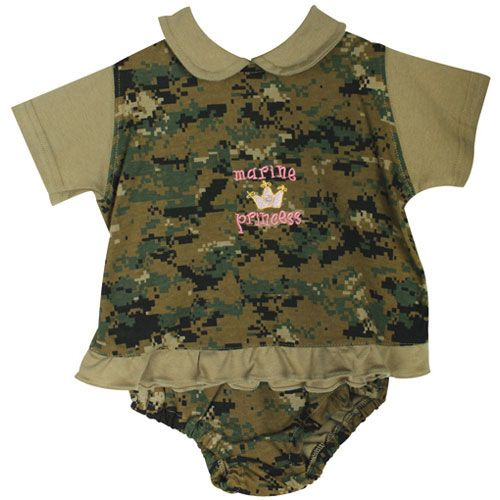 baby girl marine princess digital woodland camo dress set