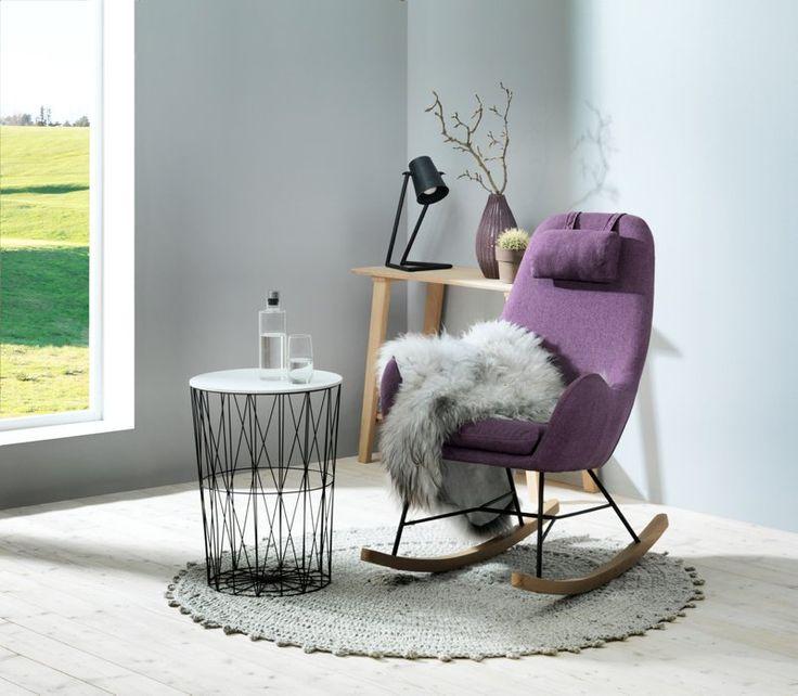 Hvilestol, recliner og suppleringsstolNapoligyngestolLilla stoff med metall ben