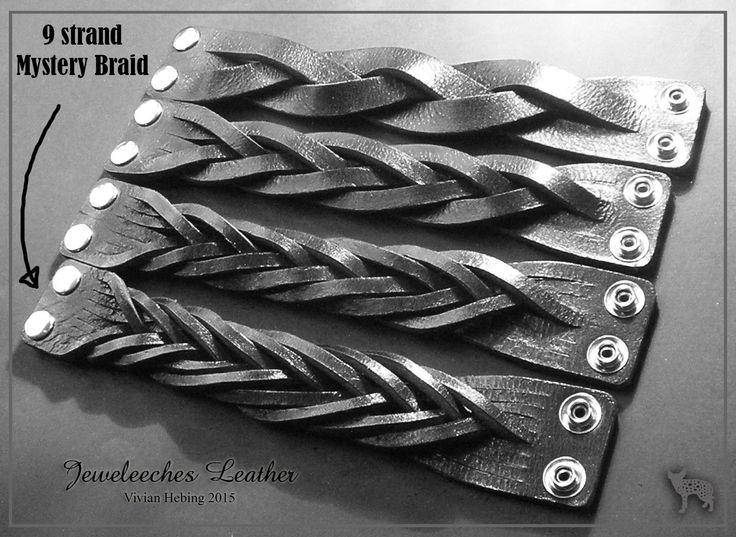 Made a 9 strand mystery braid bracelet of natural tanned leather by Jeweleeches Vivian Hebing! Do you want to see more of my work, you can find me on Facebook, Youtube or Etsy too! On Youtube you can see my tutorial video's!