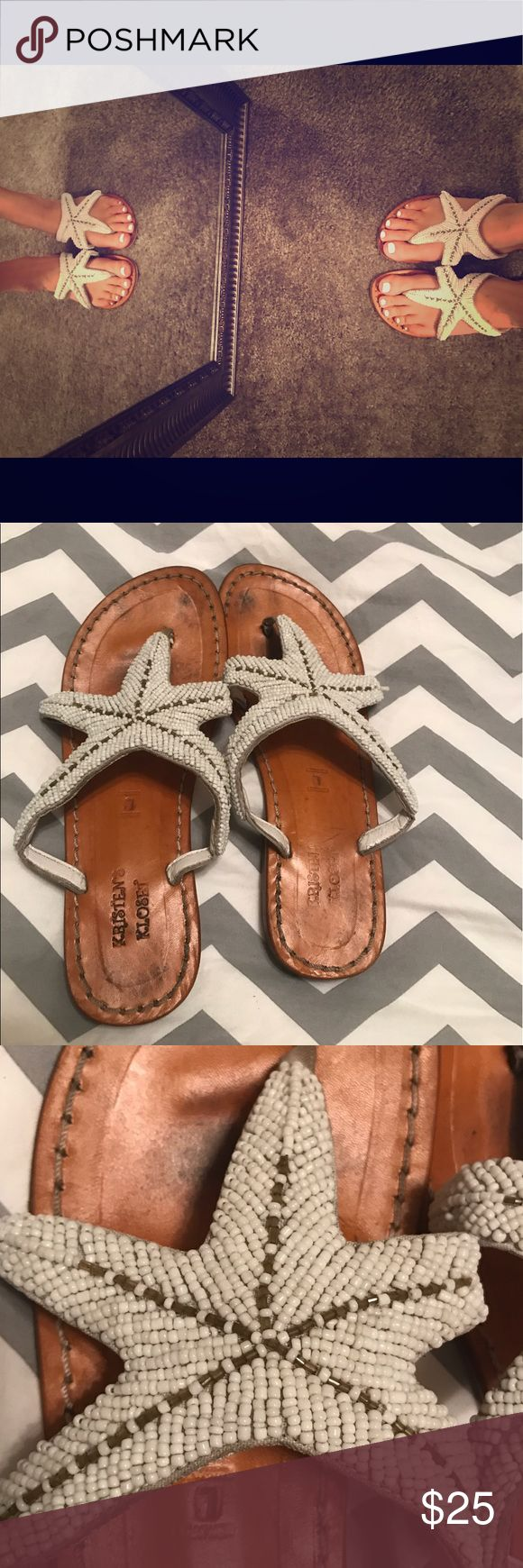 Summer starfish sandals  Handmade in St. Augustine, FL at a boutique shop. A little worn, but the beading is still in great condition. Sandal has a little heel but very small. Very comfy and great for summer outdoor outfits Shoes Sandals