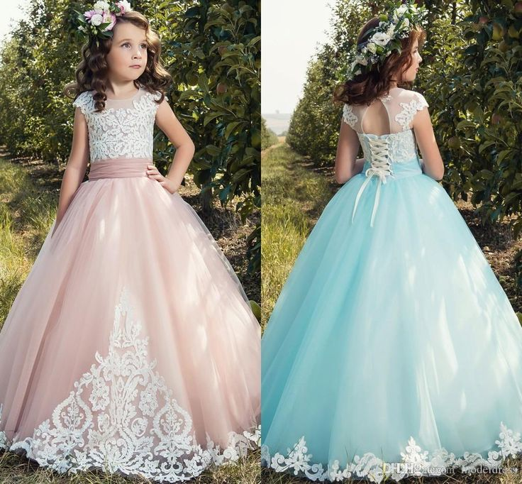 2017 New Princess Flower Girls Dresses Cap Sleeve Appliques Lace Up Back Long Pageant Party Gowns First Communion Dress For Child Teens Lavender Flower Girl Dress Little Flower Girl Dresses From Modeldress, $60.94| Dhgate.Com