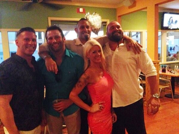On May 13, 2014, Andrew Hankinson (Luke Gallows) married Kimberly Davis (Amber O'Neal) in Clearwater, Florida. Attending the nuptials was Curt Hawkins, Zack Ryder, Angelina Love, Conor OBrian and Mike Knox.