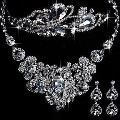 Legering met elegante strass en kristal bruiloft sieraden set inclusief tiara, ketting en oorbellen – EUR € 51.57
