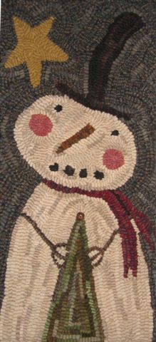 Primitive hooked rug - Chilly -  a Payton Primitive design available through www.campwool.com and www.winterberrycabin.com