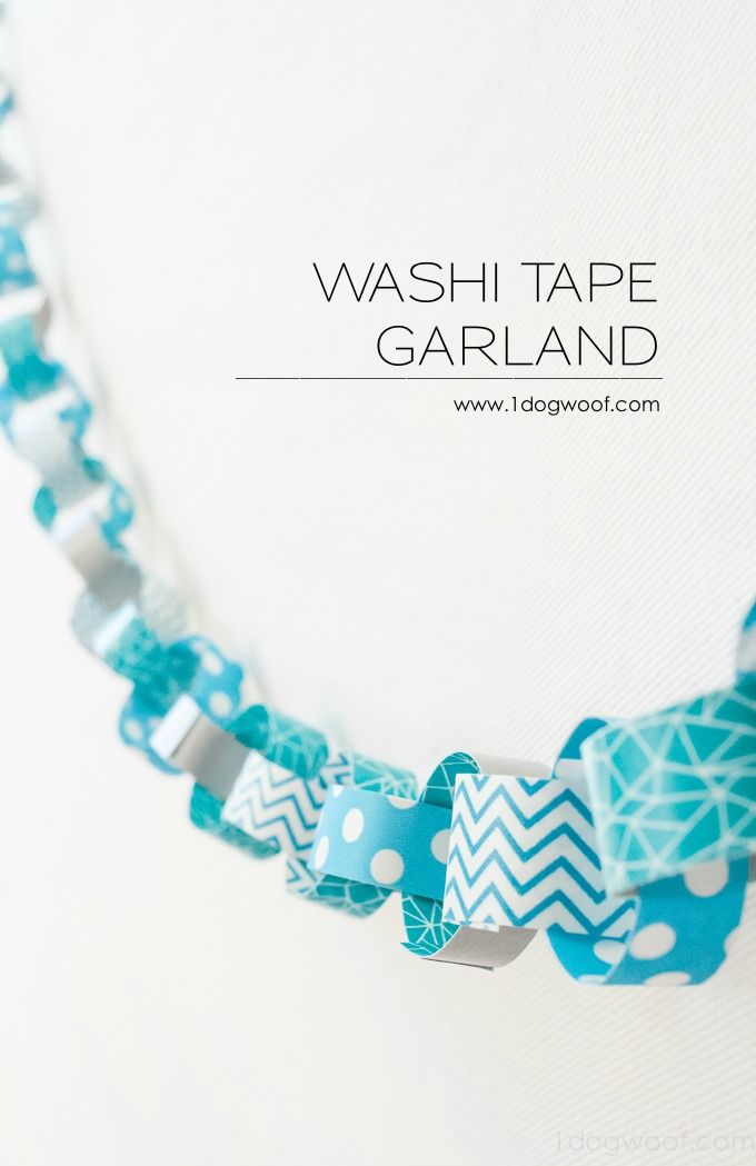 Love this super easy washi tape paper chain garland! Modern take on construction paper chains. | www.1dogwoof.com