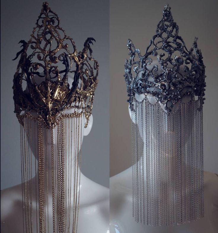 "5,837 Likes, 55 Comments - Agnieszka Osipa COSTUMES (@agnieszkaosipa) on Instagram: ""gold vs silver crowns with chain veil #agnieszkaosipa #crown #headpiece #headgear #silver #gold…"""