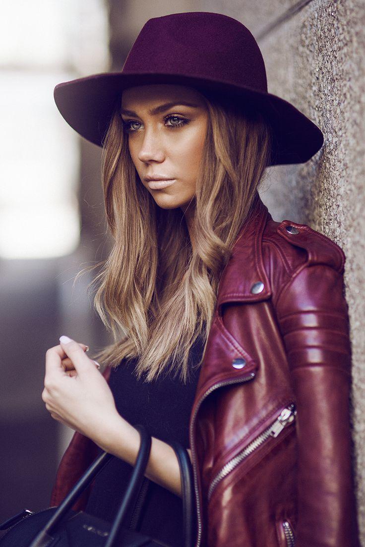 Burgundy Leather Jacket Street Style By Lisa Olsson #fashion #leather #hats