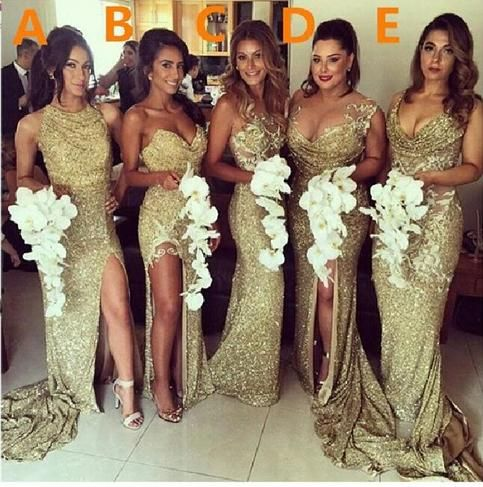 The gold sequin bridesmaid dresses are fully lined, 8 bones in the bodice, chest pad in the bust, lace up back or zipper back are all available, total 126 colors are available.   Most brides order all bridesmaid dresses at a time, we recommend this way, firstly, we could use the same roll materia...