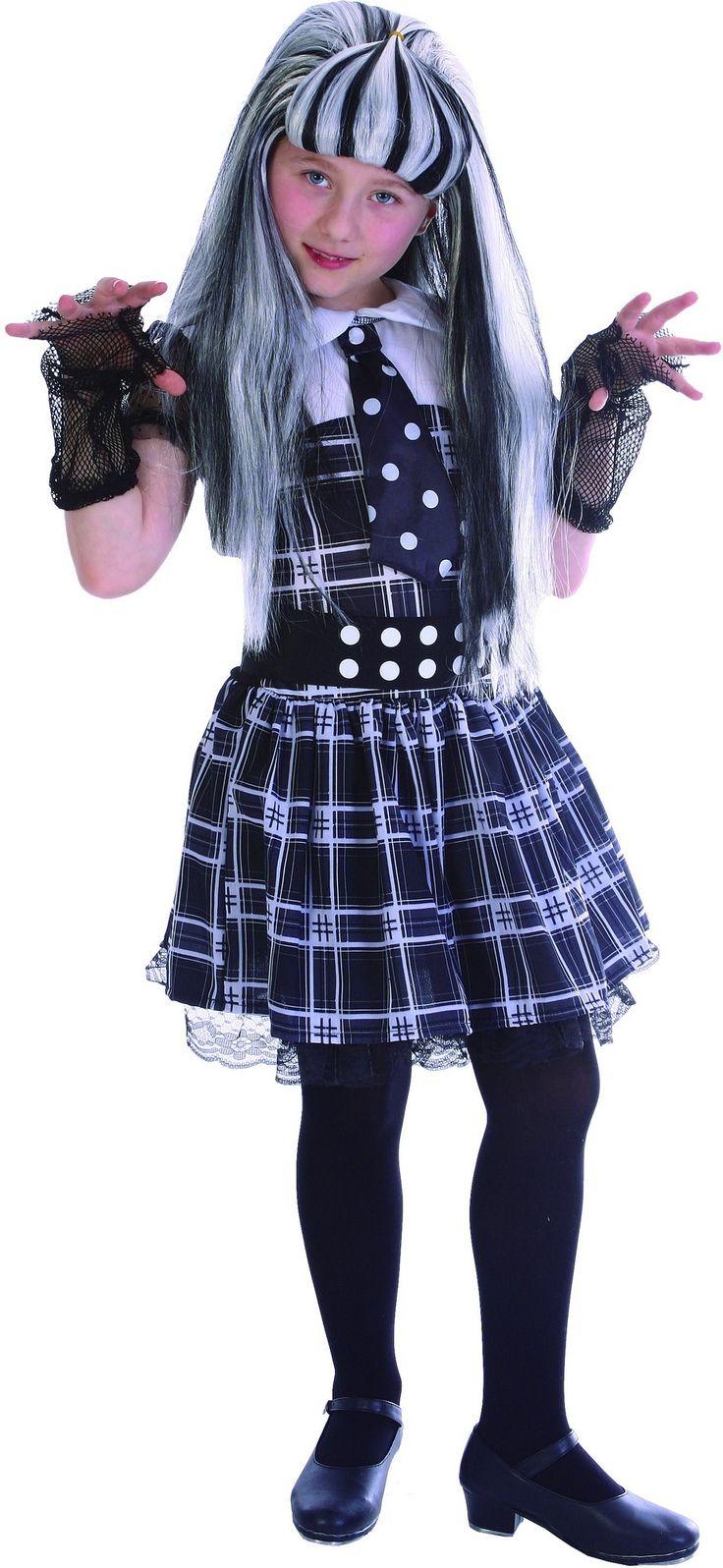 Disfraz monstruo niña: Este disfraz de monstruo para niña incluye vestido, cinturón y guantes (peluca, media y zapatos no incluidos). El vestido es a cuadros blancos y negros. Tiene un cuello pequeño...
