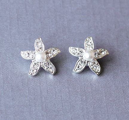 Bridal Rhinestone and Pearl Starfish Stud Earrings Crystal Beach Wedding Jewelry Silver ER028LX