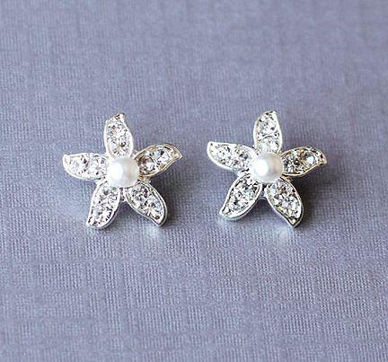 Bridal Rhinestone and Pearl Starfish Stud Earrings Crystal Beach Wedding Jewelry Silver ER028LX
