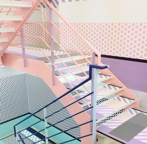 interior design, home decor, stairs, retro, 1980s, 80s