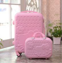 Hoge kwaliteit abs pc hello kitty bagage set, 14 20 24 28 inch korea stijl hello kitty reisbagage sets, roze/mint groene zakken(China (Mainland))