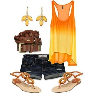 Orange faded shirt with jean shorts, belt bracelet, brown sandals and orange leaf earrings. #fashion #tank #orange #cute #sandals #denim #leatherbracelet #endlesssummer #fashionforward #wardrobe #style