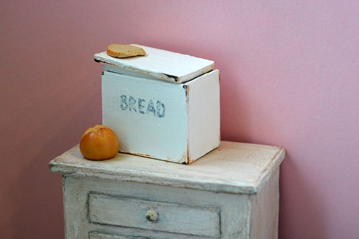 Dollhouse Accessories, White Old Bread Box, 1/12 Dollhouse Miniature Scale by Galchi on Etsy