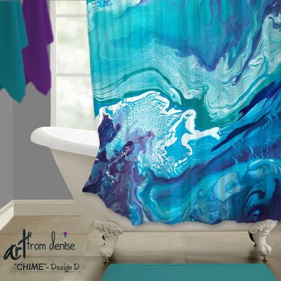 Teal Navy Turquoise And Purple Shower Curtain Colorful Abstract