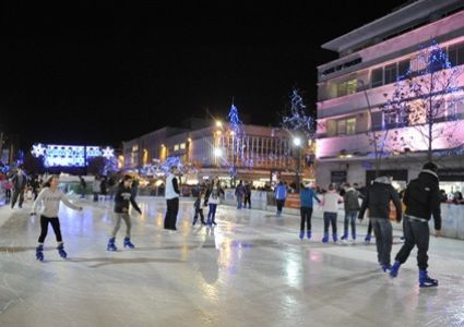 Plymouth City Centre Piazza is transformed into the annual Winter Wonderland Ice Rink.