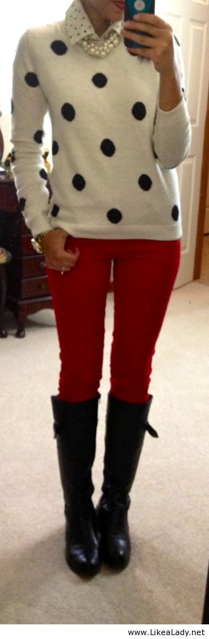 Cute outfit with red pants find more women fashion ideas on www.misspool.com