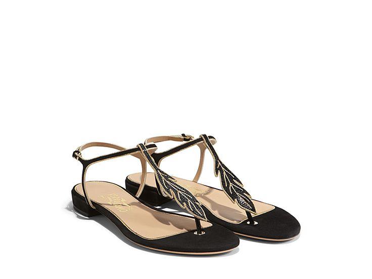 093b8a3fc46f8 Ankle-Strap Flat Sandal with Leaf Detail - Shoes - Women s sale - Sale -