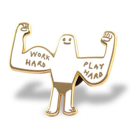 Work Hard Play Hard Enamel Lapel Pin by MagicPonyStudio on Etsy