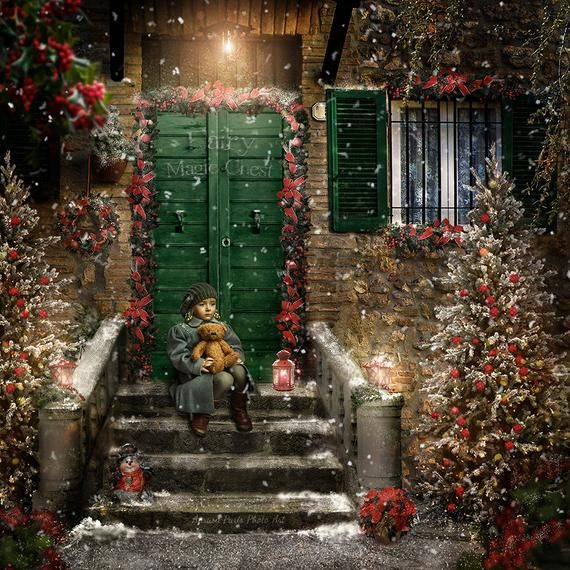 Christmas Front Door Digital Backdrop Background Vintage Entryway Decorated Exterior House Entrance With Lantern And Snow Overlays Christmas Front Doors Front Door Christmas Photography