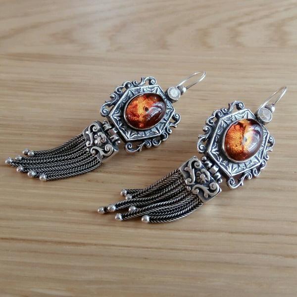 Firedancer Amber Silver Earrings