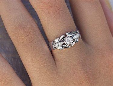 Blätter Verlobungsring 14 k gold Ring Weissgold von DoronCohen