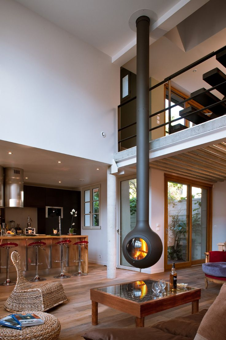 Hanging fireplace... now that's a change of pace.