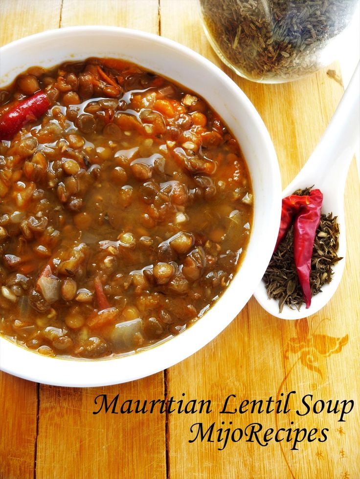 Mauritian Recipes: Easy Vegetarian Lentil Soup. If you are a fan of mauritian recipes, then be sure to try this lentil soup recipe! Enjoy it with some rougaille poisson sale, or anything of your choice!