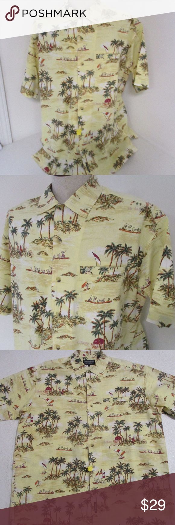 """Timberland Performance Hawaiian Hula Girl Shirt L Great shirt from Timberland Performance in size large     Yellow with tropical island and hula girl pattern     Feels like cotton     Machine washable, but shirt has just been dry cleaned     Excellent condition     Chest- 27"""" laid flat  Length- 32"""" Timberland Shirts Casual Button Down Shirts"""