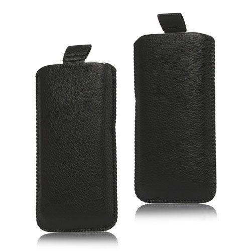 Zwart lichee lederen insteek hoesje voor iPhone 5 / 5s