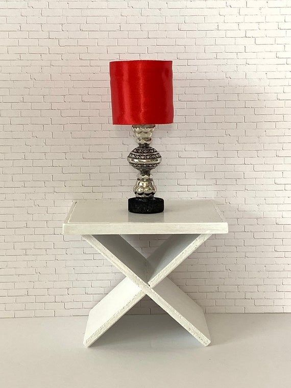 Red And Silver Led Doll Lamp Playscale 1 6 Scale Lamp For Etsy In 2020 Modern Dollhouse Furniture Doll House Lamp