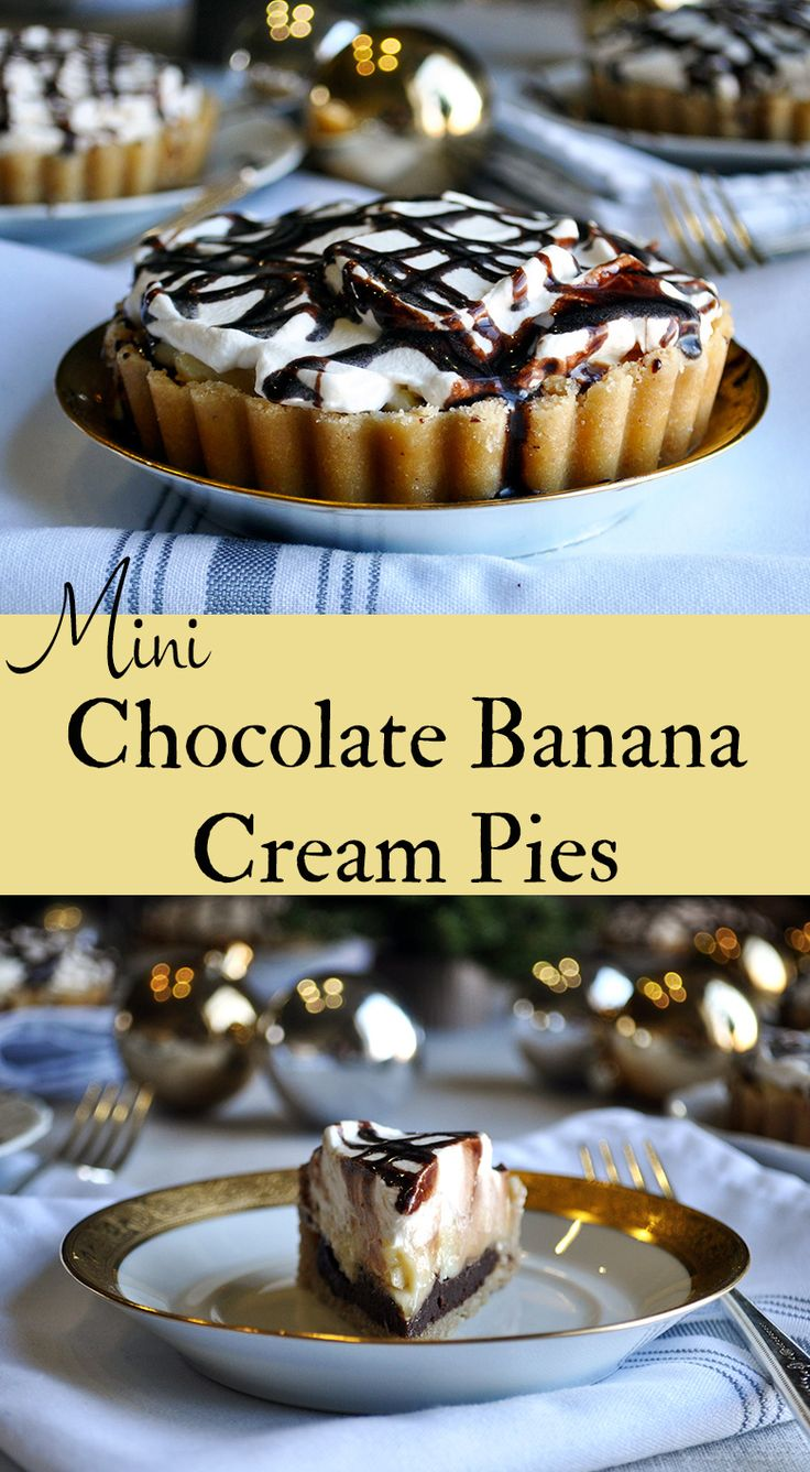Chocolate Banana Cream Pie. Chocolate custard, bananas, rum custard, and whipped cream are layered inside a buttery shortbread cookie crust for the ultimate crowd pleasing dessert.