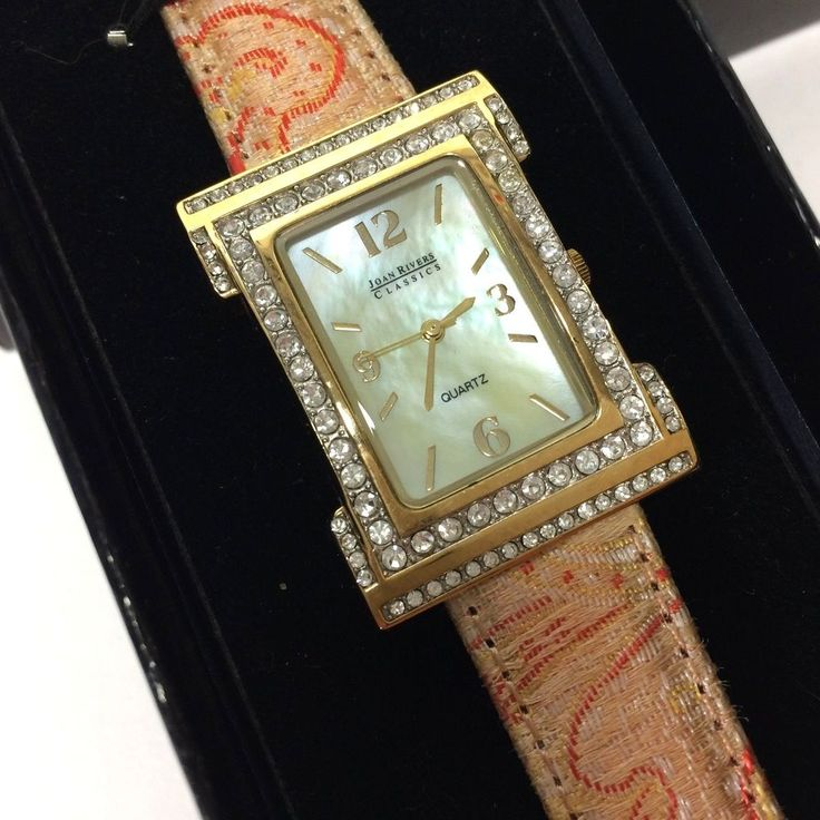 Joan Rivers Classics Collection Watch Tapestry Leather Band Mother of Pearl Face #JoanRivers