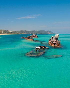 The most beautiful island EVER-Moreton Island, AU.  I would love to go back here!