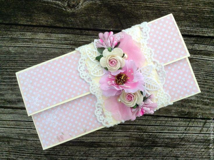 Купить Конверт для денежного подарка - бледно-розовый, Конверт для денег, конверт, конверт ручной работы