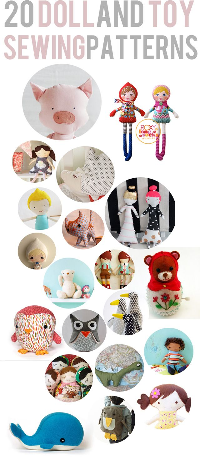 20 doll and toy sewing patterns. #crafts #sewing #toys #patterns #howto