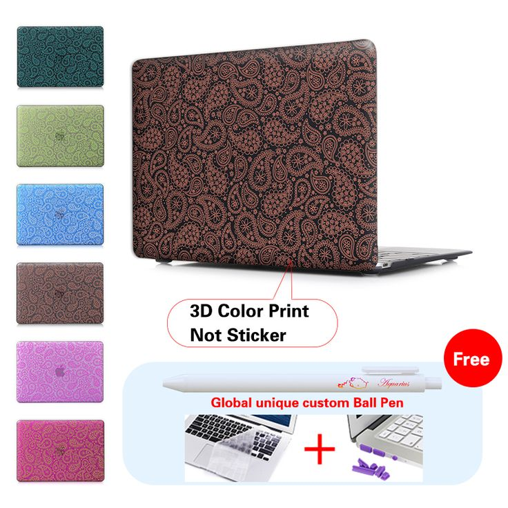 Free Shipping Crystal/Matte Hard Laptop Case Cover For Macbook Pro 12 13 15 Retina Air 11 13 notebook bag Cover print worm petal