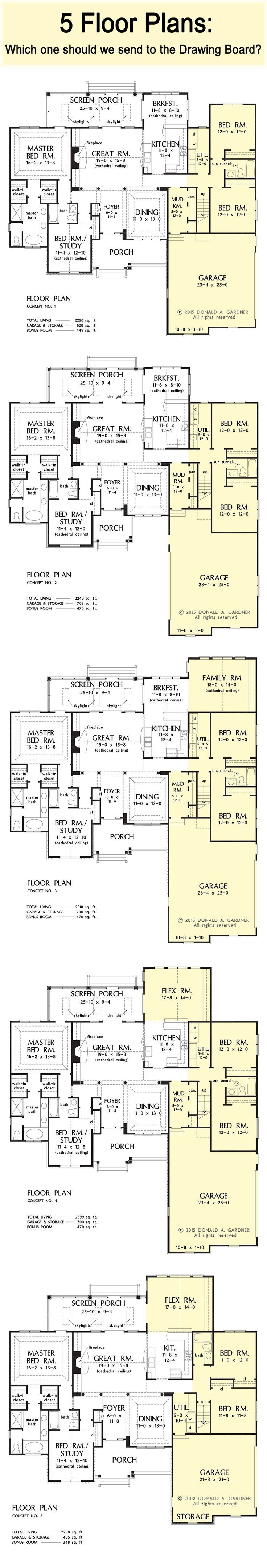 Which of these floor plan concepts should we send to the Drawing Board? Click the image below to be taken to our #House #Plans #Blog, where you can read more about each concept! http://houseplansblog.dongardner.com/share-your-feedback-on-these-floor-plan-concepts/: