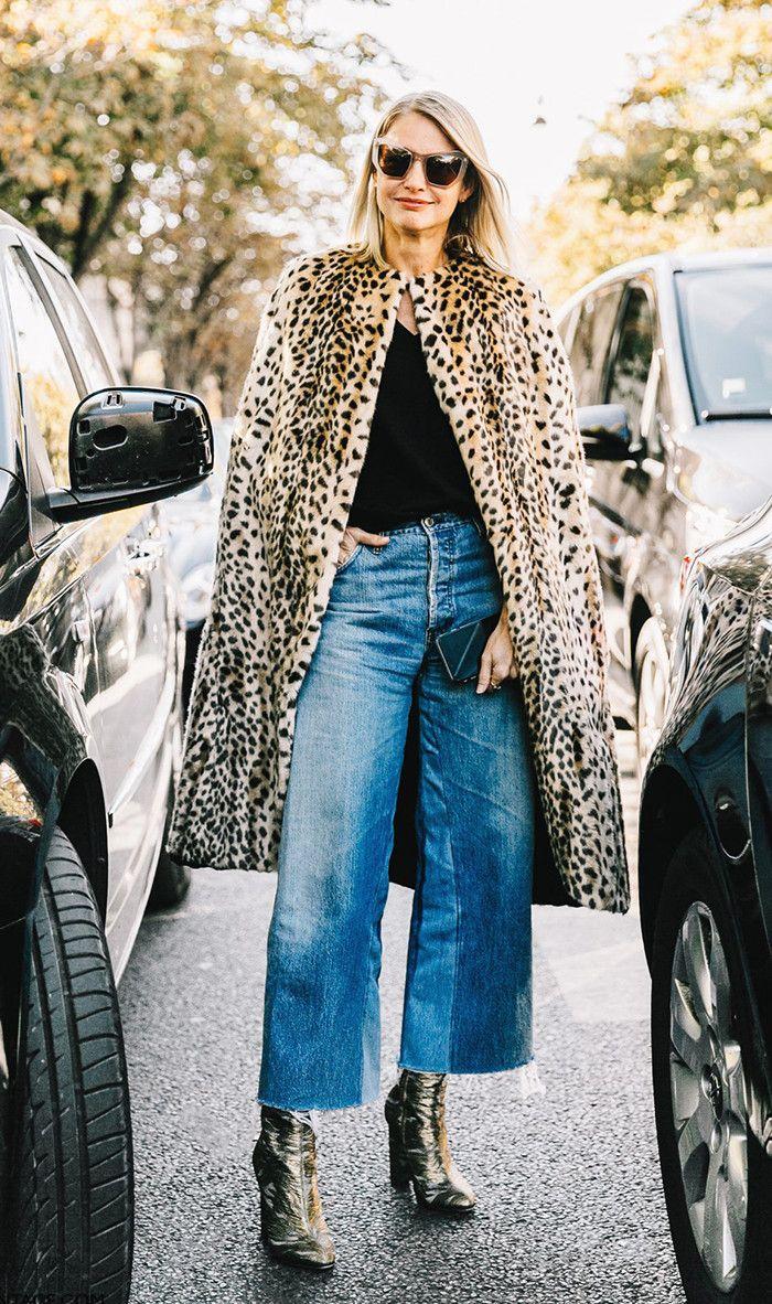 Fur cape + boots + cropped jeans