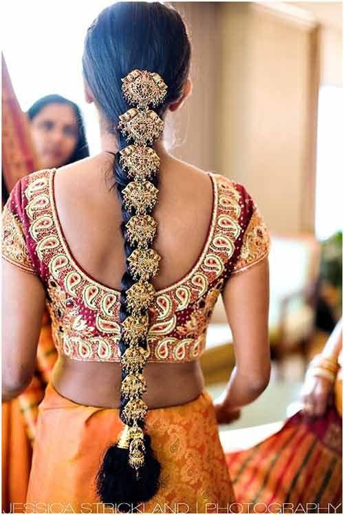Braided hair, according to ancient mythology, symbolizes India's three main rivers, Ganga, Yamuna, and Saraswati. It also symbolizes the trinity of Brahma, Vishnu, and Shiva. ---- The hairdo, one of the Solah Shringar (16 adornments) of the Indian Hindu bride
