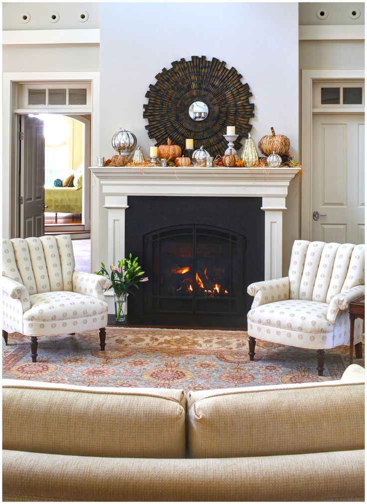 Living Room:Contemporary Living Room Fireplace Sunbrust Mirror Two Armchairs Gray Carpet Sweet Ottoman Beautiful Small Lamp Futon Furniture Brown Pillow White Tin Dresser Frame Smll Rugs Makeover Ideas Great Large Apartment Living Room Interior Design